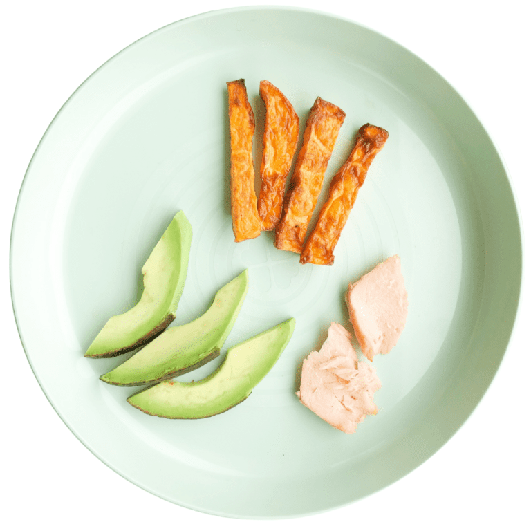 Main image for the article [My Top 6 Starter Finger Foods for Baby Led Weaning]. Pictured is a plate with sweet potato wedges, avocado wedges and large flakes of salmon.