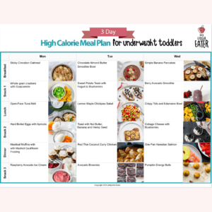 Main image for the article [High Calorie Foods To Help Your Underweight Toddler]. Pictured is an overview of a 3 day, high calorie meal plan for toddlers.