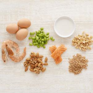 Main image for the article [Introducing Highly Allergenic Foods]. Pictured is highly allergenic foods - peanuts, shellfish, eggs, soy, tree nuts, wheat, dairy and fish.