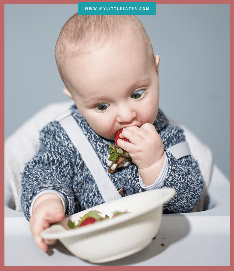 infant in high chair self-feeding a whole strawberry