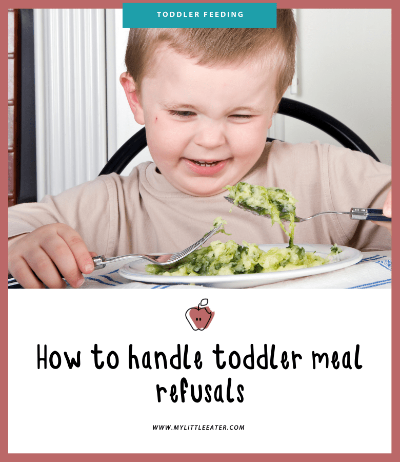 upper half of the image is of a toddler sitting at the table with some type of pasta and green veggie on his spoon, with a look of disgust on his face. The lower half has the title of the article on a white background.