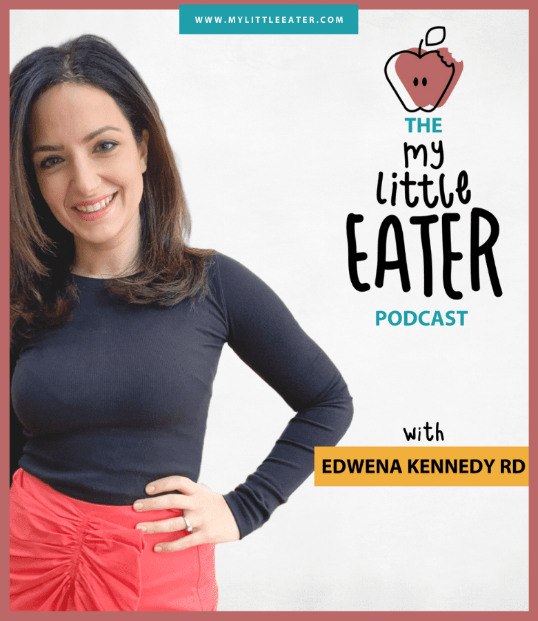 Edwena Kennedy is pictured on the left of the image in a black shirt and red skirt, and the name of the podcast is pictured on the right.