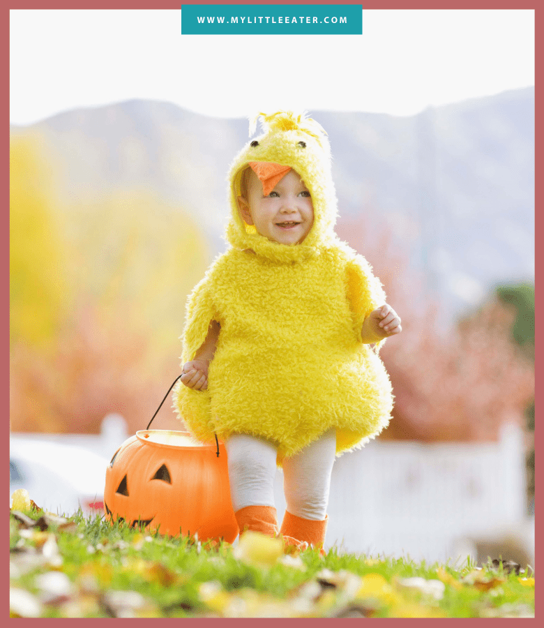 The image has a maroon border, and an aqua bar at the top in the middle with the website URL. The image is of a toddler dressed up as a baby chick, carrying an orange pumpkin bucket. The background is outdoors in the fall with trees of various colours and leaves fallen on the ground.