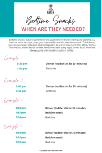 bedtime snack schedule for toddlers