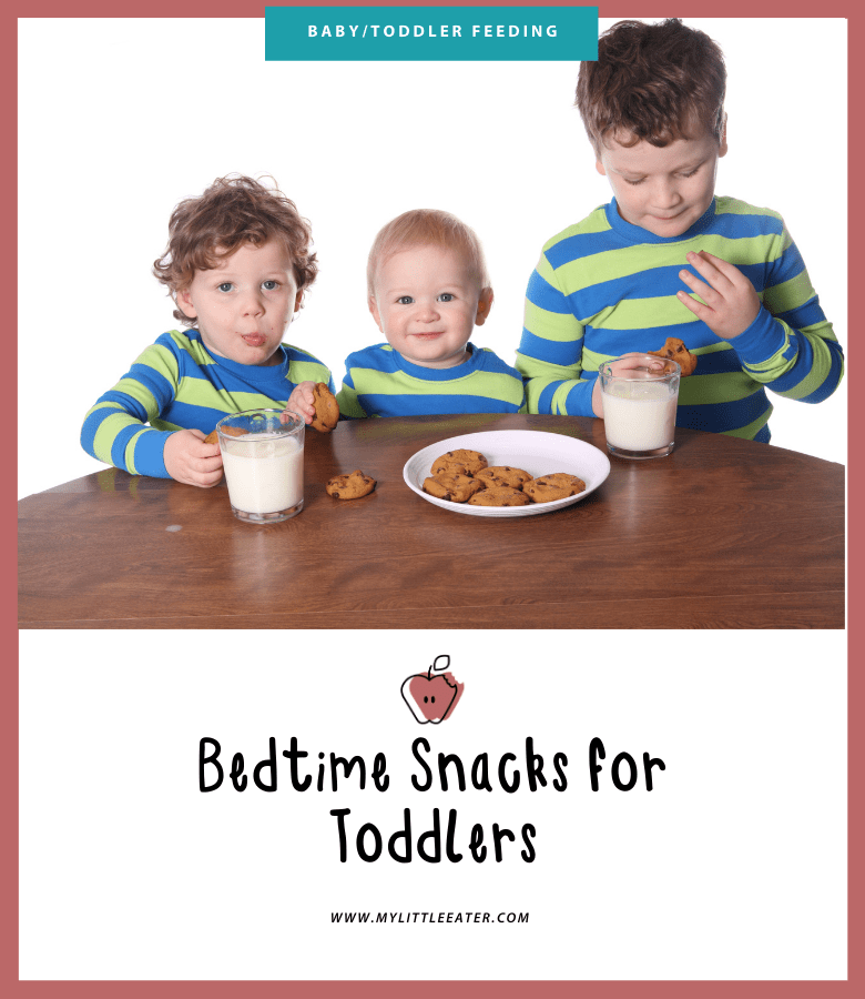 The image has a maroon border, the top half shows three young boys in matching striped pajamas eating cookies and milk at a table. The bottom half has the My Little Eater logo and the title of the article.
