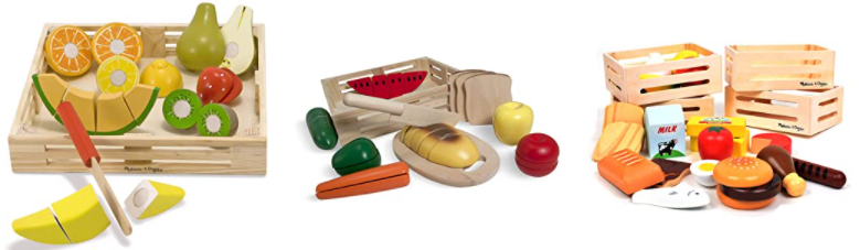 Melissa and Doug brand food sets, three different options shown.