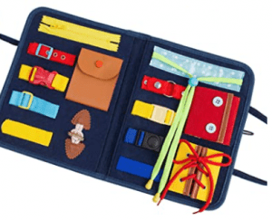 Travel busy board for toddlers.
