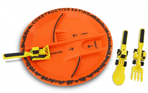 construction themed plate set