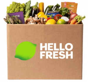 Hello Fresh box of fresh produce.