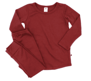Little and Lively track suit in cranberry red.
