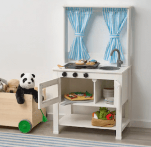 IKEA brand play kitchen.