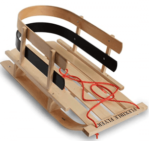 Flexible Flyer wooden toddler sled.
