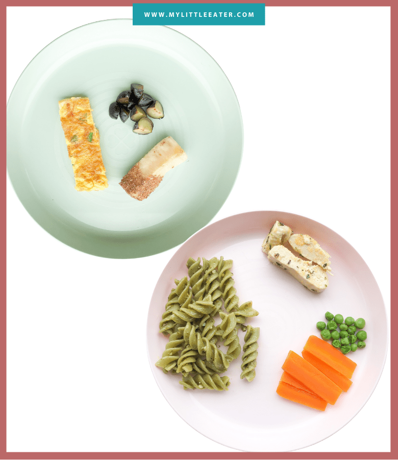 "Episode art for ""#34: Easy Hacks to Meal Plan for Your Baby"". Pictured are two plates with different meals on them."