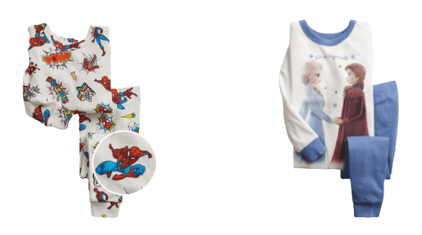 Gap brand pajamas for toddlers are pictured, one is Spider-man themed, the other is Frozen themed.