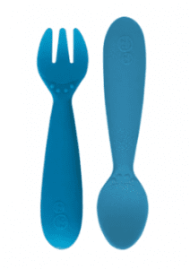 A blue fork and spoon set, made of silicone, by ezpz.