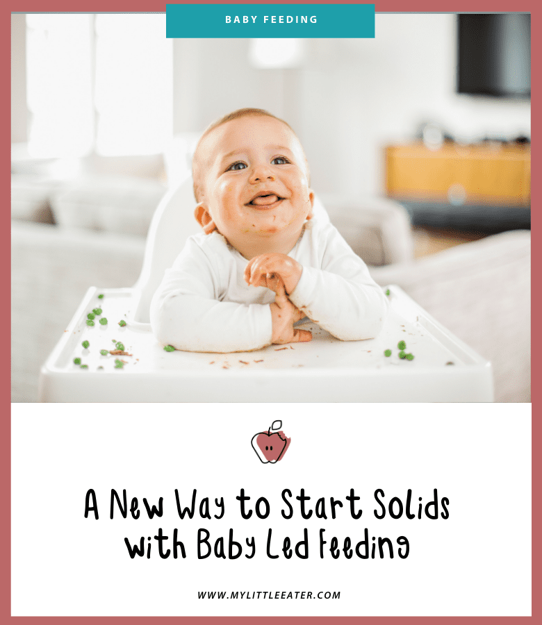 "Main image for the article: ""A new way to start solids with Baby Led Feeding"". Pictured is a happy baby, sitting in their highchair, with peas scattered on their tray."