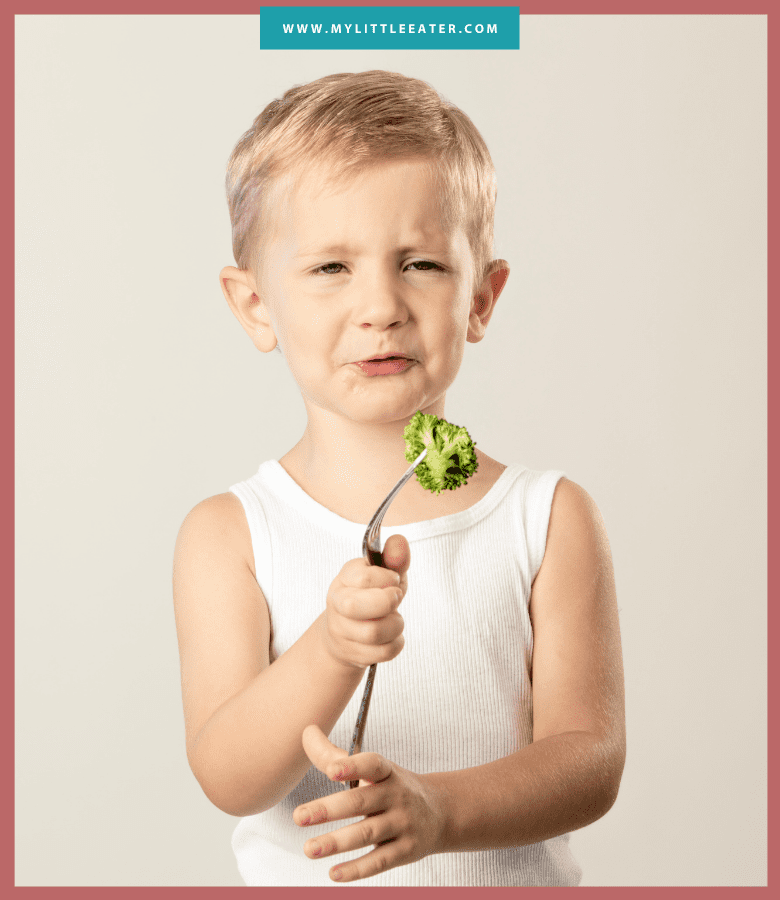 "Episode art for episode: ""#37: Preventing picky eating vs. reversing it"". Pictured is a toddler holding broccoli on a fork with a disgusted look on their face."