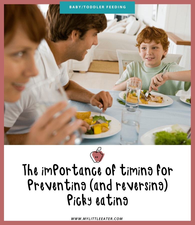 "Main image for article ""The importance of timing for preventing (and reversing) picky eating."" Pictured is a family happily eating dinner together."