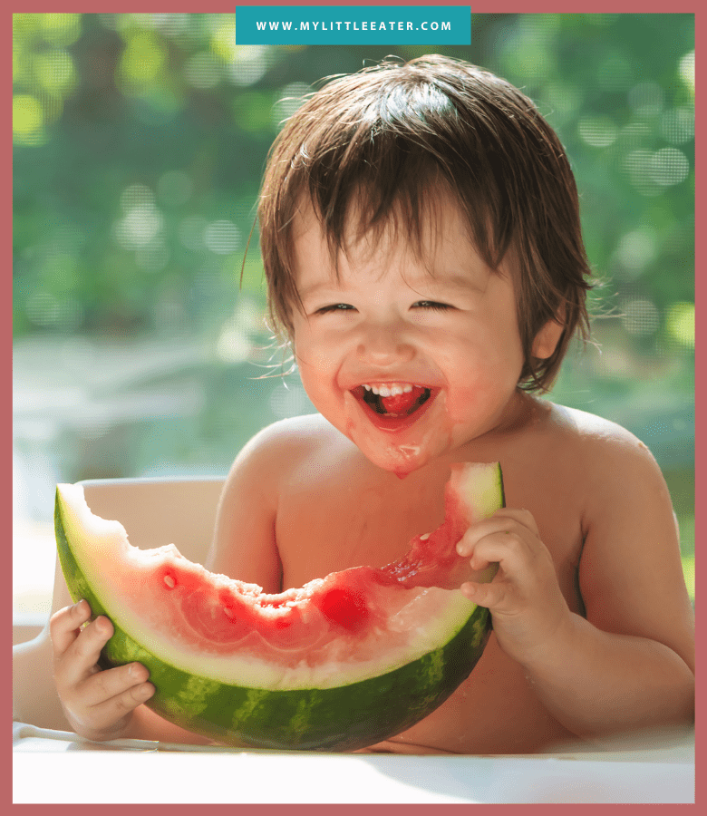"Episode art for episode ""#48: Is it ever ok to limit food for your baby/toddler?"". Pictured is a smiling toddler eating a large piece of watermelon."
