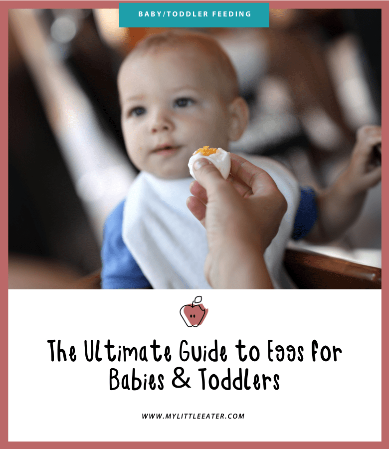"Featured image for the article: ""The Ultimate Guide to Eggs for Babies & Toddlers."" Pictured is a baby being offered a hard boiled egg."