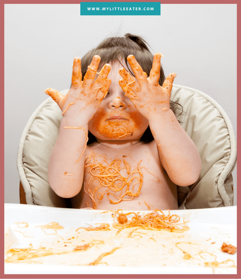 "Episode art for ""#44: Do You Really Need to Worry About Salt for Babies?"". Pictured is a baby covering their eyes while eating pasta."
