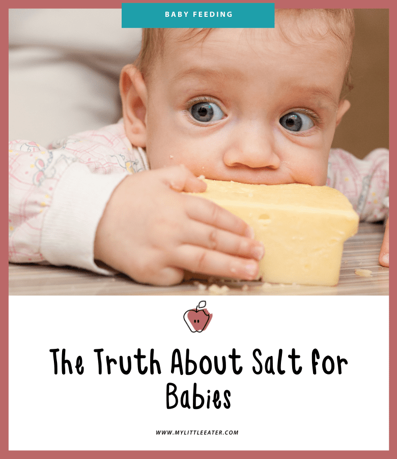 """Featured image for the article """"The Truth About Salt for Babies"""". Pictured is a baby chewing on a brick of cheese."""