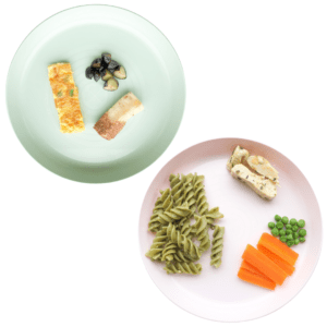 """Episode art for """"#34: Easy Hacks to Meal Plan for Your Baby"""". Pictured are two plates with different meals on them."""
