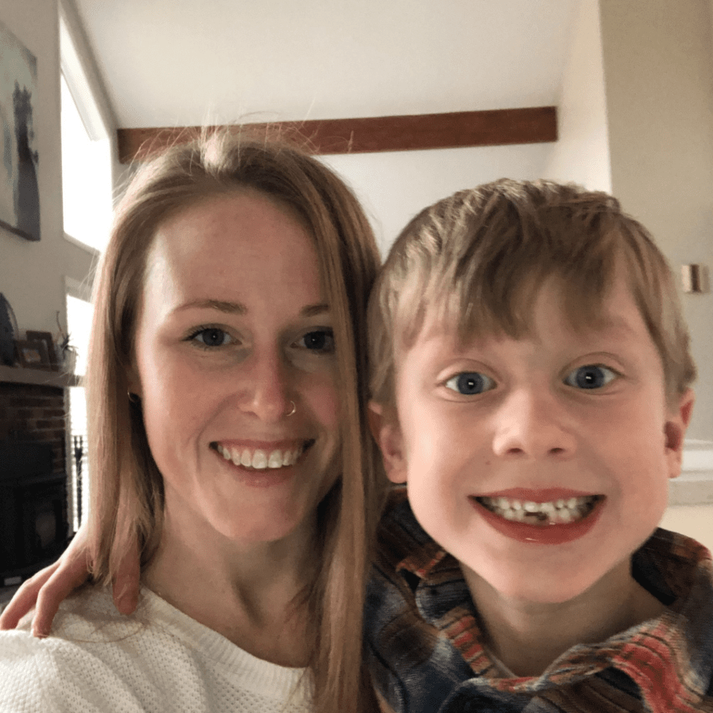 """Episode art for episode """"#50: Gardening with Kids: The benefits and how to get started now."""" Pictured is Caitlin Feltham, dietetic intern at My Little Eater™, and her son."""