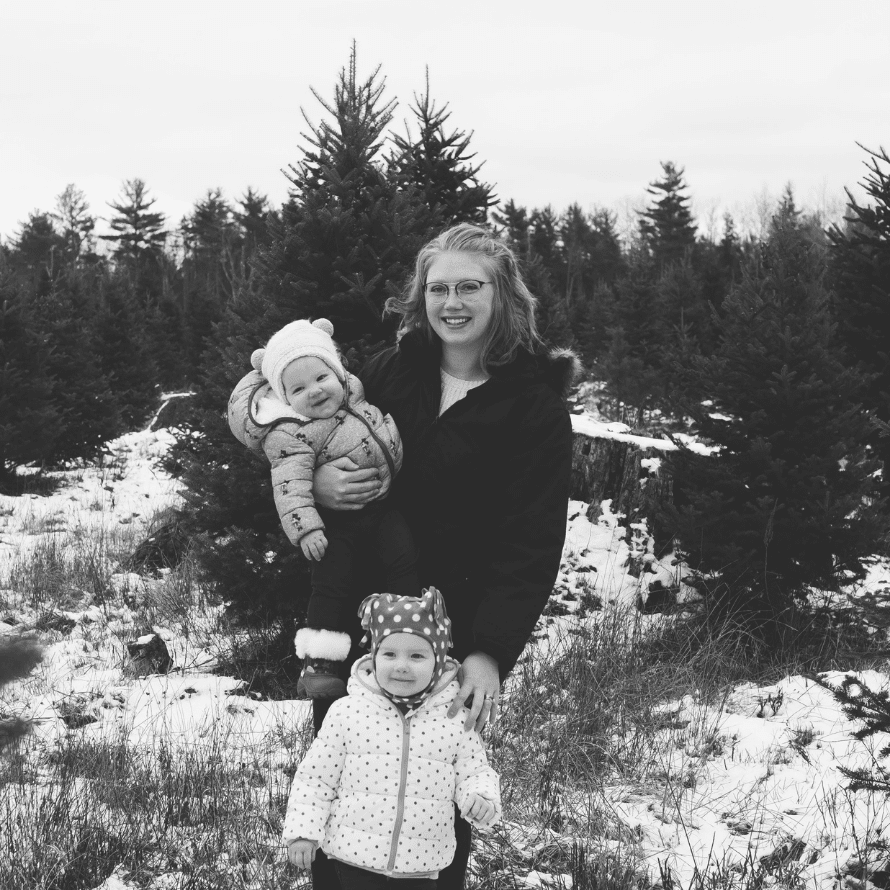 """Episode art for episode: """"#55: Solo-parenting as a Military Spouse: Parenting on Your Own and the Importance of Community"""". Picture Amy Morris with her daughters."""
